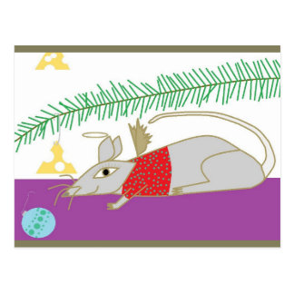 Happy Holidays Mouse in  House Postcard