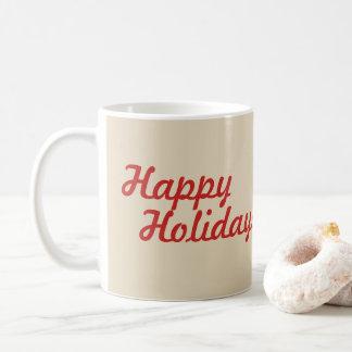 Happy Holidays Mug with Poinsettia Design