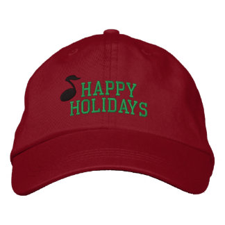 Happy Holidays Music Embroidered Hat