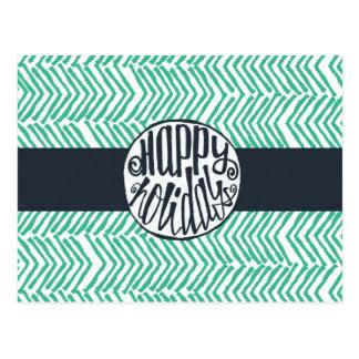 Happy Holidays navy blue & mint green Postcard