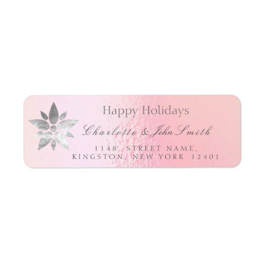Happy Holidays New Year Rose Gold Gray Address Return Address Label