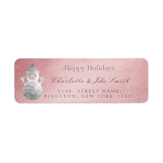 Happy Holidays New Year Rose Gold Gray Snowman