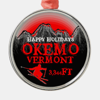Happy Holidays Okemo Vermont red ski art ornament