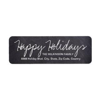 Happy Holidays on Chalkboard, family name