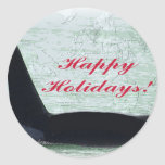 Happy Holidays: Orca Whale Happy Holidays San Juan Classic Round Sticker