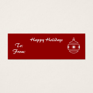 Happy Holidays, ornament on red background Mini Business Card