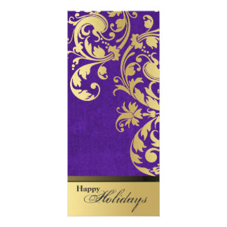 Happy Holidays Party Invitation - Purple & Gold 10 Cm X 23 Cm Rack Card