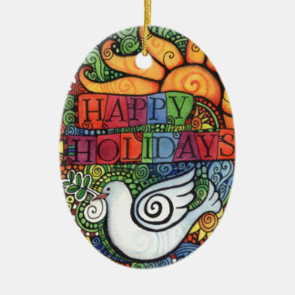 Happy Holidays Peace Dove Sun Design Christmas Ornament