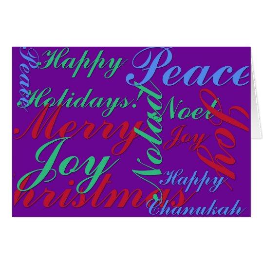 Happy Holidays Peace Joy Noel Merry Christmas Card