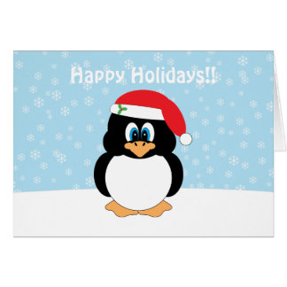 Happy Holidays Penguin Christmas Card