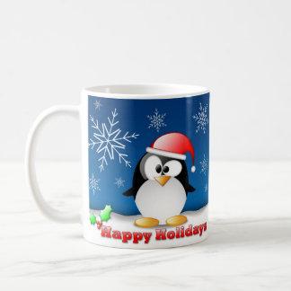 happy holidays penguin mugs