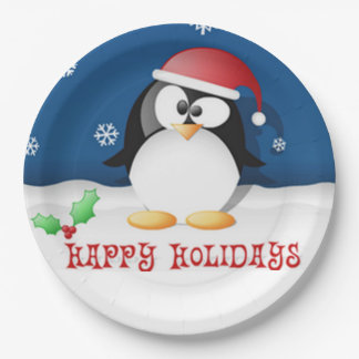 Happy Holidays Penguin Paper Plate