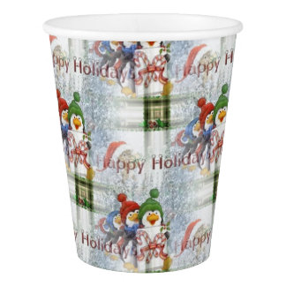 Happy Holidays Penguins Paper Cup