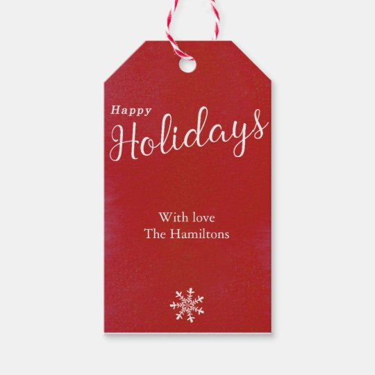 Happy Holidays personalised gift tags