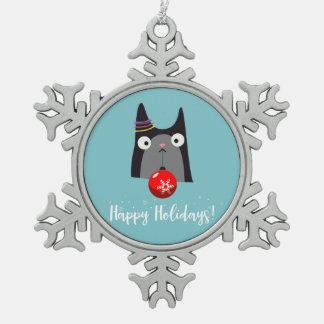 Happy Holidays! Pewter Snowflake Decoration