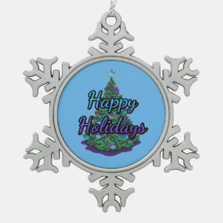 Happy Holidays Pewter Snowflake Ornament