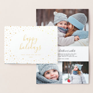 Happy Holidays Photo Card | Real Gold Foil Stars