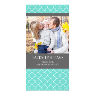 Happy Holidays Photo Card Teal Grey Quatrefoil