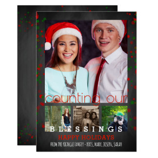 Happy Holidays Photo Chalkboard Counting Blessings Card