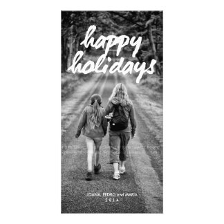 Happy Holidays Photo Christmas Holiday White Bold Picture Card