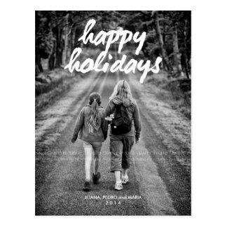 Happy Holidays Photo Christmas Holiday White Bold Postcard