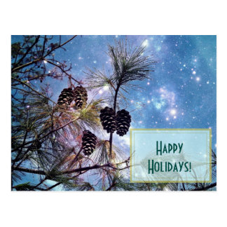 Happy Holidays Pine cones and starry night sky Postcard