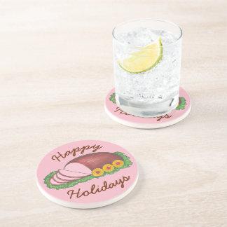 Happy Holidays Pink Christmas Easter Glazed Ham Coaster