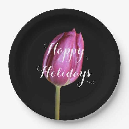 Happy Holidays Pink Tulip Flower Floral Black Paper Plate