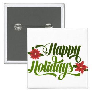 Happy Holidays Poinsettia 15 Cm Square Badge