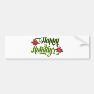 Happy Holidays Poinsettia Bumper Sticker