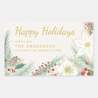Happy Holidays Poinsettia Foliage Return Address Rectangular Sticker