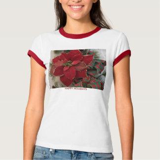 HAPPY HOLIDAYS, Poinsettia&Plaid Ribbon T-Shirt