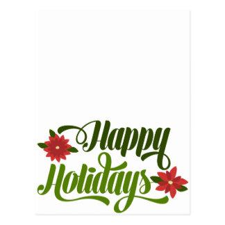 Happy Holidays Poinsettia Postcard