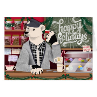 """Happy Holidays"" Polar Bear Coffee Shop Card"