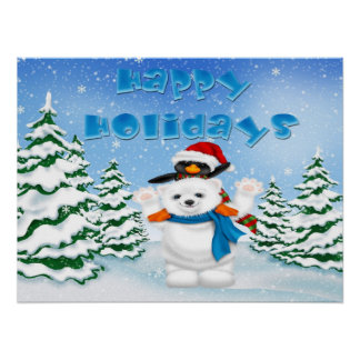 Happy Holidays Polar Bear Penguin Poster/Print Poster