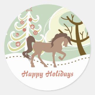 Happy Holidays Pretty Horse Snowy Winter Christmas Round Sticker