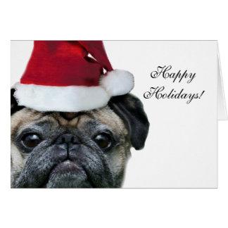 Happy Holidays pug note card