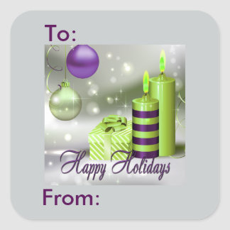 Happy Holidays Purple Green Decorations Gift Tag Square Sticker
