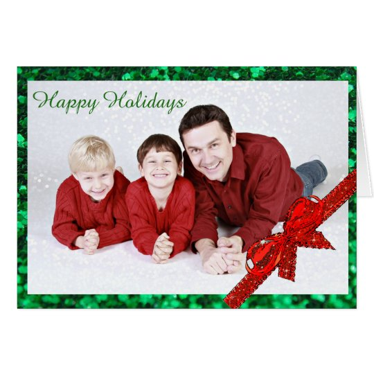 Happy Holidays Red and Green Family Photo Card