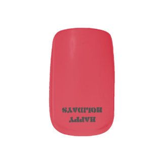 Happy Holidays Red and Green Military Nail Sticker