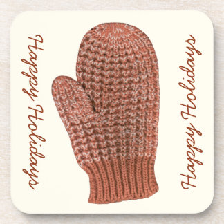 Happy Holidays & Red and White Knit Winter Mitten Drink Coaster