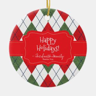 Happy Holidays. Red Badge & Argyle Pattern. Round Ceramic Decoration
