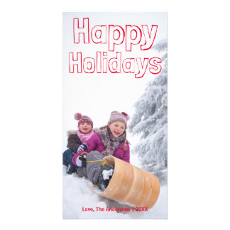 Happy Holidays Red Block - Photocard Card