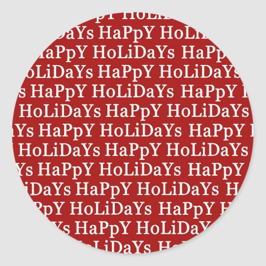 Happy Holidays Red Christmas Sticker