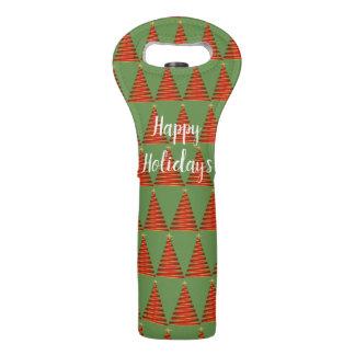 Happy Holidays Red Christmas Tree Wine Bag