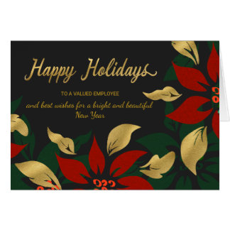 Happy Holidays Red & Gold Poinsettia Faux Foil Card