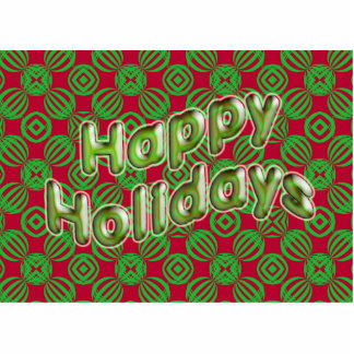 happy holidays red green photo sculpture