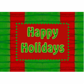 happy holidays red green photo sculpture magnet