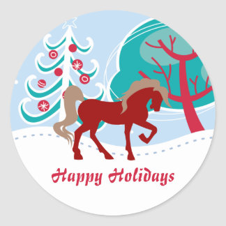Happy Holidays Red Horse Snowy Winter Christmas Round Sticker