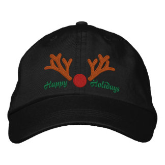 Happy Holidays Red Nose Reindeer Embroidery Embroidered Baseball Cap